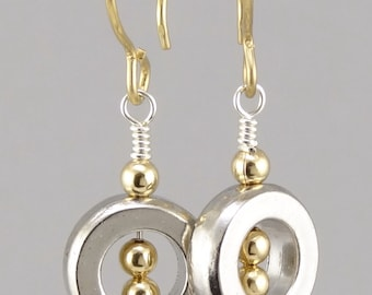 As Seen on Rizzoli and Isles Geometric Pewter & Gold Earrings