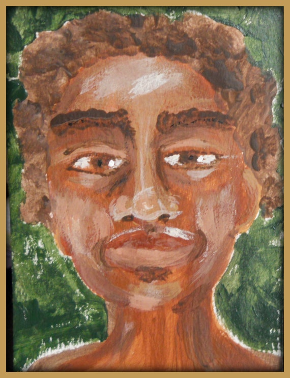 MAURO Original Acrylic Mini Portrait, African American Art, Moorish Man, afrocentric art, by Stacey Torres Artist