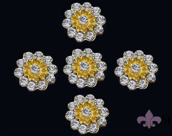 Rhinestone Button - 5pc Rhinestone Crystal Button - Gold Rhinestone Button - SWB-1023G - Metal