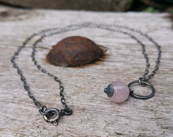 Rose Quartz Necklace, Oxidized Sterling Silver Necklace, Quartz Necklace