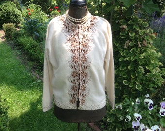 1950s Beaded Sweater / Embroidered  Beaded Sweater / Vintage Cardigan Sweater