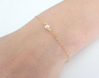 Pearl bracelet, Fresh water pearl bracelet, Single Pearl bracelet, Pearl Link Bracelet, Bridesmaid gift, wedding jewelry, Layering Bracelet