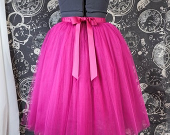 Fuchsia Plus Size Tulle Skirt with Ribbon Waist and Ties - Hot Pink Tea Length Adult Tutu - Custom Size, Made to Order