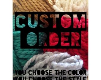 Custom Order / Short Cowl Scarf / Arm Knitted