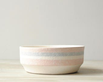 Vintage Bowl, California Pottery Bowl, Fruit Bowl, Serving Bowl, Ceramic Bowl, Pastel Pink and White Bowl