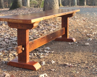 Bench, Wood Bench, Rustic Bench, Reclaimed Wood Bench, Farmhouse Bench,  Rustic Dining Bench, Rustic Wood Dining Bench, Trestle Style Bench