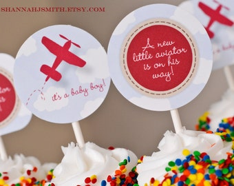Print Your Own Plane Baby Shower Party Circles