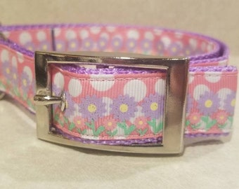 """1"""" Purple Glitter Flowers with Pink Polka Dots Dog Collar"""