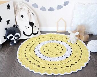 Crochet rug - Nursery rug - Kids rug - Doily rug - Nursery decor - Baby play mat - Home decor - Round crochet rug - Round rug - Neutral