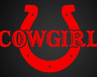 Cowgirl Horse Shoe Vinyl Decal