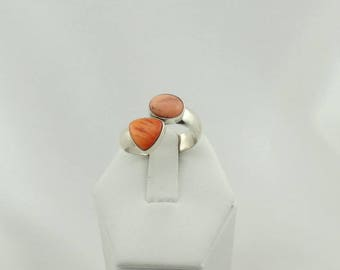 KRS hallmarked Hand Made Spiny Oyster and Pink Coral Vintage Southwest Native American Sterling Silver Adjustable Size Ring #SO-SR5