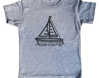 Sailboat Kids Shirt   Minimal Tee   Son   Child   Tees   For Gift   Birthday   Nautical   Unisex   Triblend