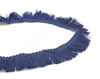 1 m Ribbon 25mm dark blue fringe