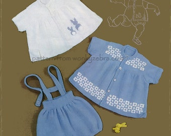 Knitted Romper Set Baby clothing Pattern PDF B022 from WonkyZebra