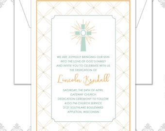 Baptism Announcement, Baptism Invite, Christening Announcement, Cross Baptism Invite, Christening Invite, Modern Baptism Invite, Cross