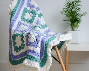 Mauve, Green and Cream Crochet Baby Blanket