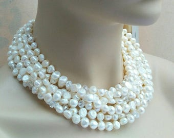 Freshwater Pearl statement necklace, bridal jewelry sale