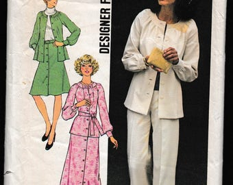 Simplicity 7132 Designer Fashion Misses Two-Piece Dress, or Top, Pants