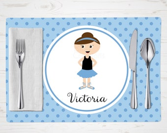 Children's Placemat - Ballerina 4 Placemat - Personalized with Child's Name - Custom Placemat - Dancer Placemat - Brunette Girl