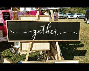 Gather Sign | White Gather sign | Black Gather sign | Framed Gather Sign | farmhouse style sign | wood gather sign | Gather