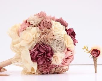 Wedding bouquet  bridal bouquet  fabric bouquet  rustic wedding  mauve bouquet  pink bouquet  boho bouquet  vintage bouquet  keepsake