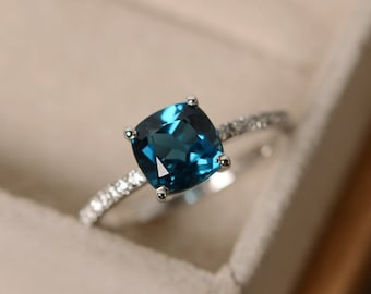 London blue topaz ring, blue gemstone, cushion cut ring, engagement ring