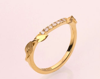 Leaves Diamonds Ring, 14K Gold and Diamonds engagement ring, engagement ring, leaf ring, eternity ring, eternity leaf ring, 3