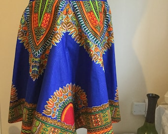 Dashki Royal Blue Panel Flared Skirt