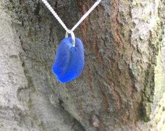 Rare Genuine Deep Blue Irish Sea Glass Necklace