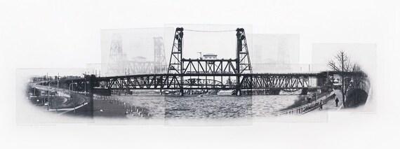 Portland Fine Art - Original Art - Photographic Etching - Art Print - Photography - Oregon - Photogravure - Photo Collage - Steel Bridge