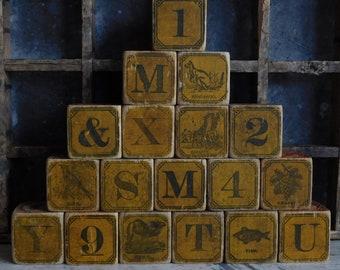 Antique Victorian Wood Toy Blocks, ABC Letters, Primitive Antiques