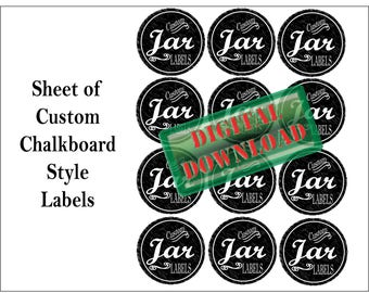12 Custom Chalkboard Labels Printable ~ For Mason Jars or Canisters ~ 1 JPG Sheet Small Mouth Lid Tags ~ Personalized Text Edits Included