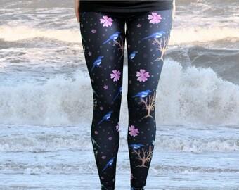 Magpie novelty print leggings bird pattern yoga pants floral tree leggings as pants all sizes capri including XS S M L XL 2XL 3XL
