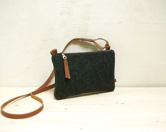 Felt crossbody bag - small black zipper shoulderbag - pure wool - eco friendly and biodegradedable clutch