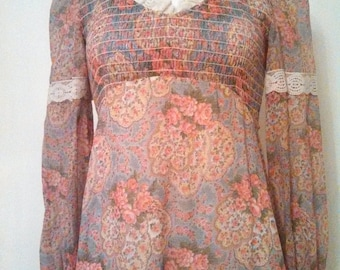 1970s Lace N Roses Maxi Dress / Sheer Sleeve  / 1970s Hippie dress / Victorian inspired