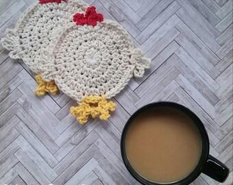 CROCHET PATTERN - Chicken Butt Coasters, Crochet Chicken Coasters, Crochet Coasters, Crochet Chicken Decor, Crochet for the Dining