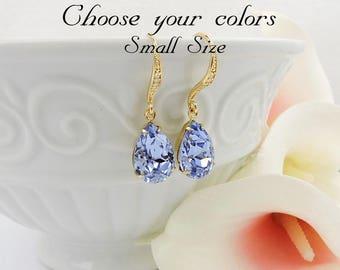FREE US Ship Small Gold Provence Lavender Swarovski Teardrop Bridal Earrings Swarovski Lavender Teardrops Bridal Earrings Bridesmaid Gift