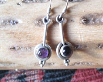 Art Deco Amethyst and Sterling Post Earrings