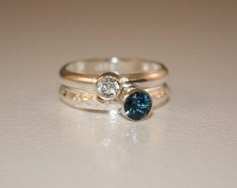 2 Gemstones, Birthstone Stacking Ring, Family & Mother's Rings, one 4mm gemstone and one 5mm gemstone, Sterling Silver, ruby, Custom Made