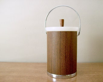 Mid-Century Kromex Ice Bucket, Wood Grain and Chrome, Faux Bois, Retro