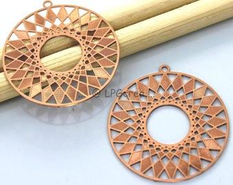 2 prints - round stylistic - copper pink pendant - 27mm Diam # L12