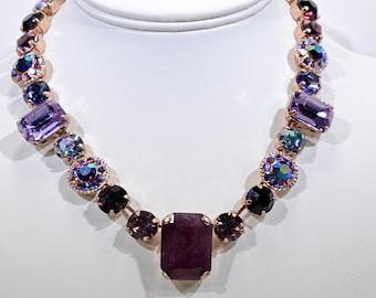 Statement Multi Colored Purple Swarovski crystal necklace