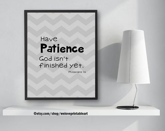 Philippians 1, Quote about Patience, Bible Verse Art, Scripture Art, Bible Verse, Printable Art, Quote Print, Scripture Sign, Wall Art
