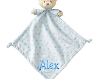 Personalized SUPER Soft Blue Teddy Bear Lovie, Snuggly Security Blankie