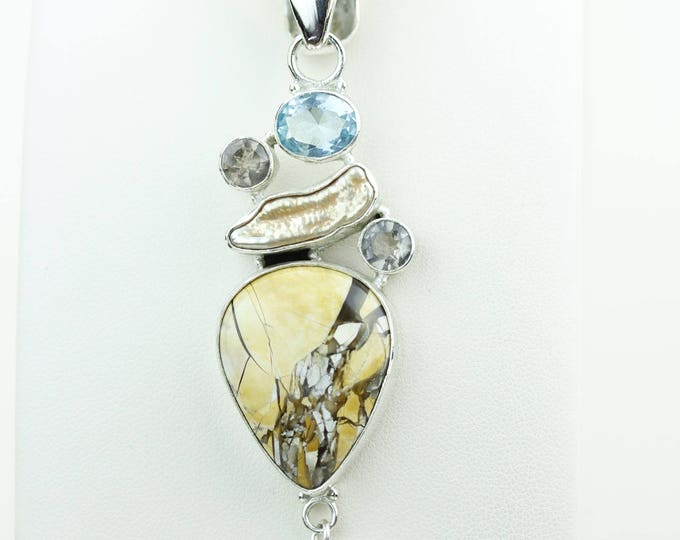 Brecciated Mookaite Jasper Blue Topaz Smokey Topaz Pearl 925 S0LID Sterling Silver Pendant + 4MM Snake Chain p4034