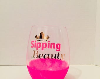 Sipping Beauty- Sleeping Beauty inspired Wine Glass