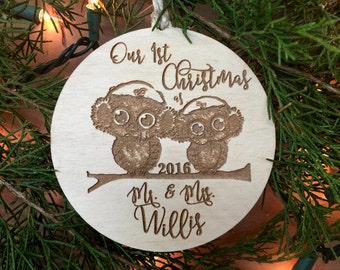 First Christmas Ornament, 1st Christmas, Owl Ornament, Two Owls Ornament, Christmas Ornament, Rustic Ornament, Woodland Ornament,
