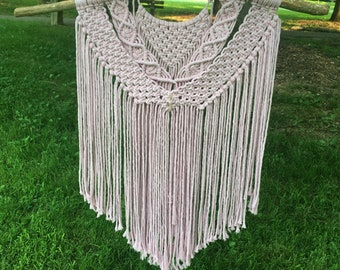 Lovely Large Pink Macrame Wall Hanging w Crystal