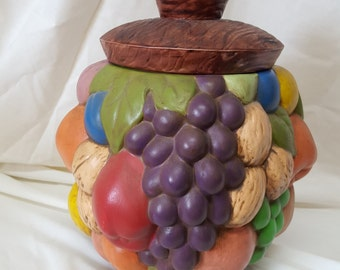 Fruit Cookie Jar, ceramic, hand painted and signed in 1971