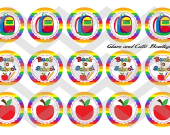 "Back to School INSTANT DOWNLOAD Bottle Cap Images 4x6 sheet 1"" circles"